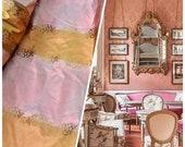 NEW SALE Designer 100 Silk Taffeta Embroidered Stripe Floral Fabric- Pink Gold