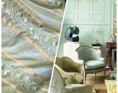 NEW SALE Designer 100 Silk Taffeta Aqua Green Fabric Embroidered Drapery