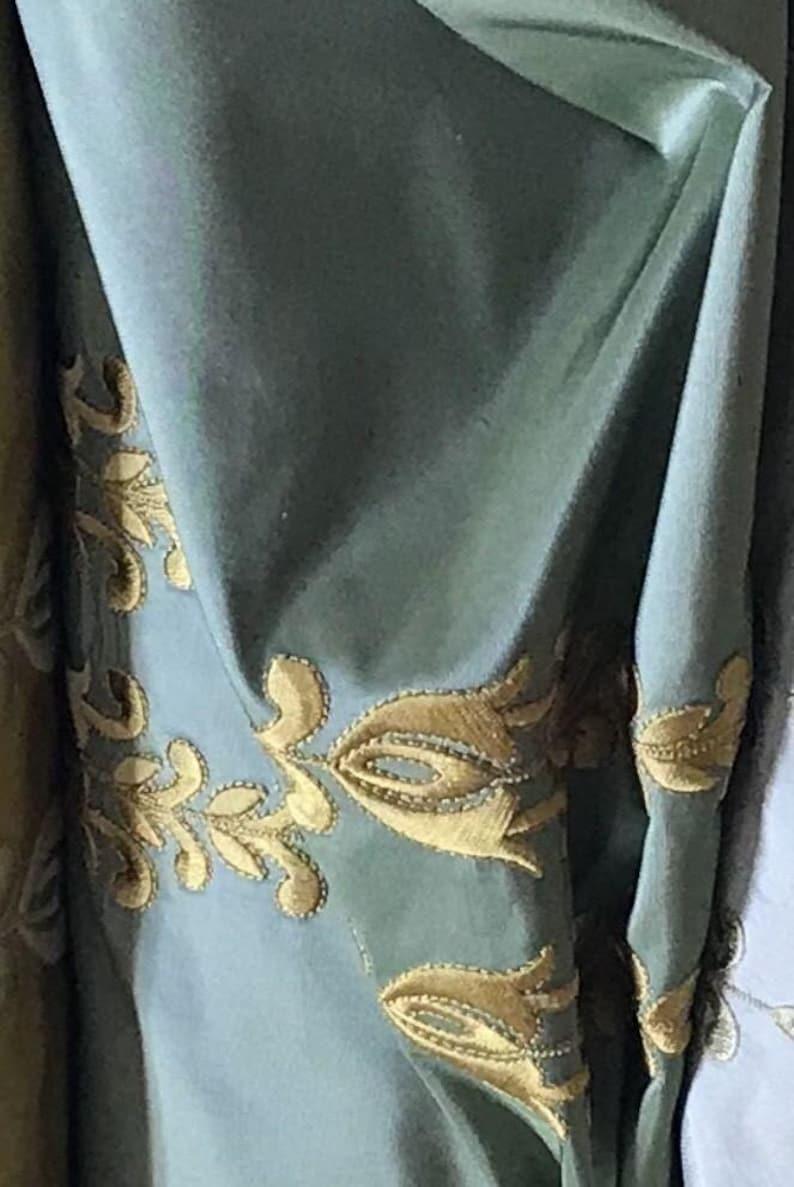Moss Green With Gold SALE Designer 100/% Silk Taffeta Embroidered Fabric