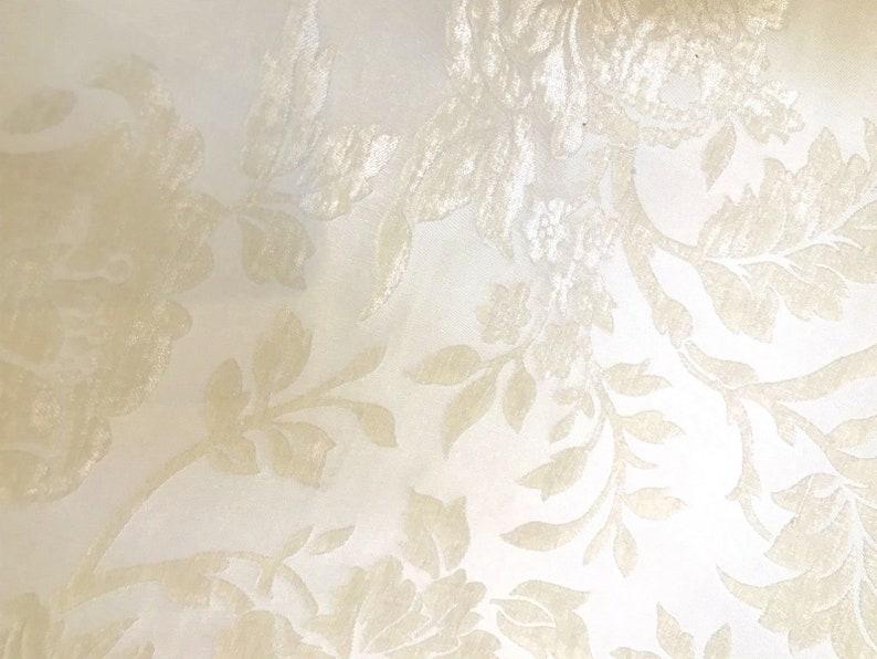 Pearl White Ivory Damask Upholstery NEW Designer Burnout Chenille Velvet Fabric