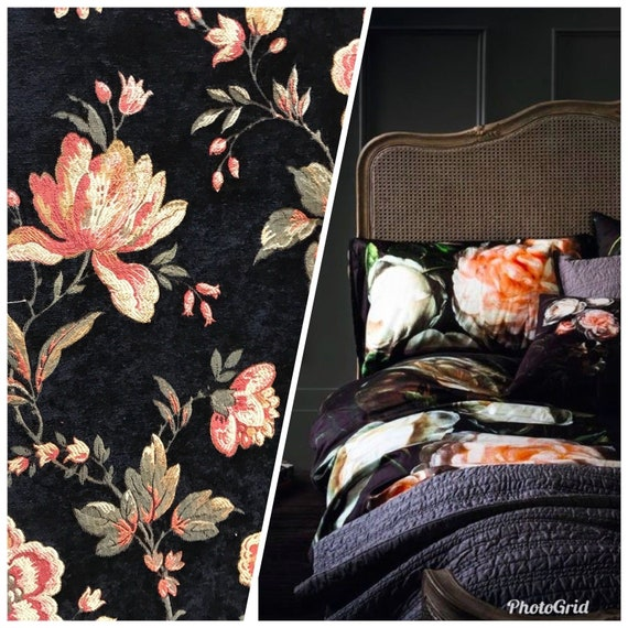 SWATCH Velvet Chenille Upholstery Decorating Fabric Gold Ivory Gray
