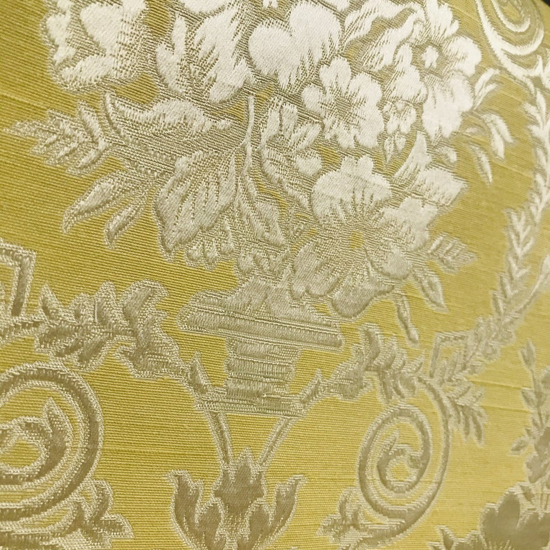 NEW Yellow Neoclassical Floral Upholstery Damask Designer Brocade Satin Fabric