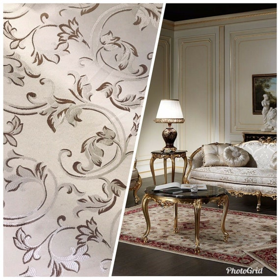 Floral Upholstery Neoclassical Louis SWATCH Italian Brocade Satin Fabric Ivory