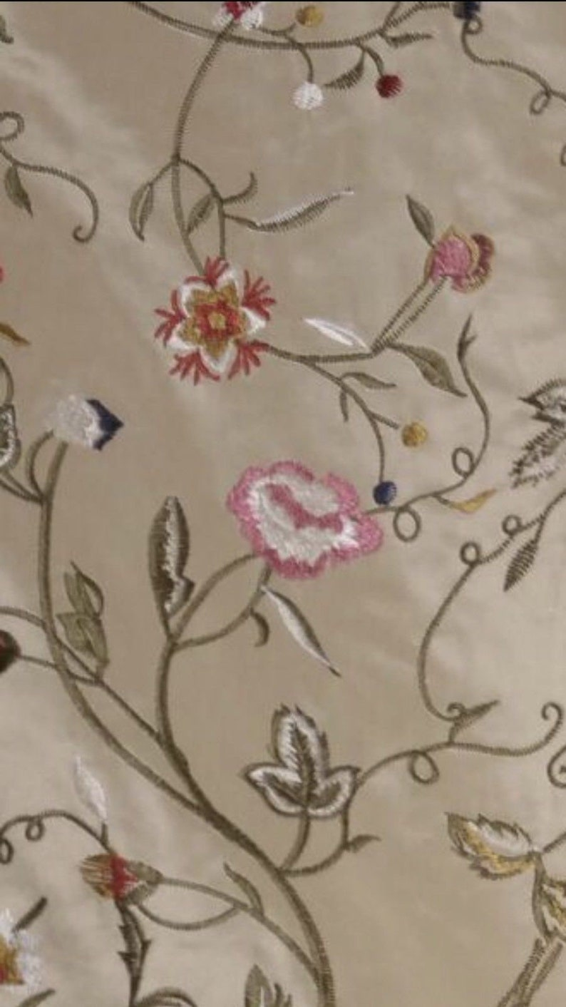 100/% Silk Taffeta Interior Design Fabric Embroidery Garden Taupe SALE