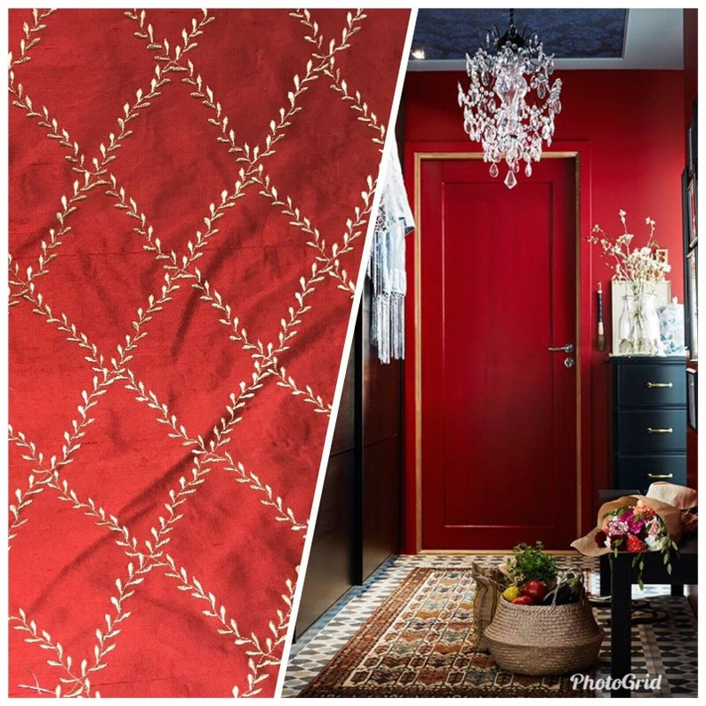 SAMPLE SWATCH 100/% Silk Taffeta Dupioni Fabric Embroidery Floral Diamonds