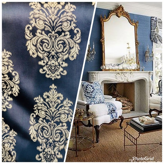 NEW Designer Brocade Upholstery /& Drapery Satin Damask Fabric Navy Indigo