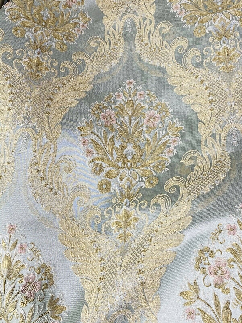 Louis Blue NEW Novelty Ritz Neoclassical Brocade Damask Floral Satin Fabric