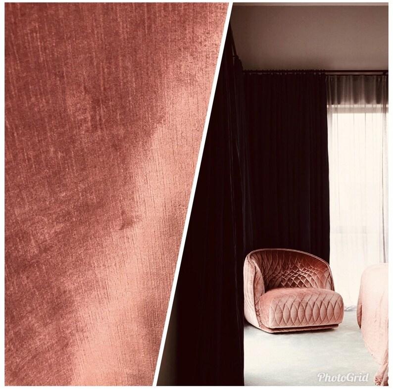 Sienna Pink Designer Velvet Upholstery Fabric By the yard