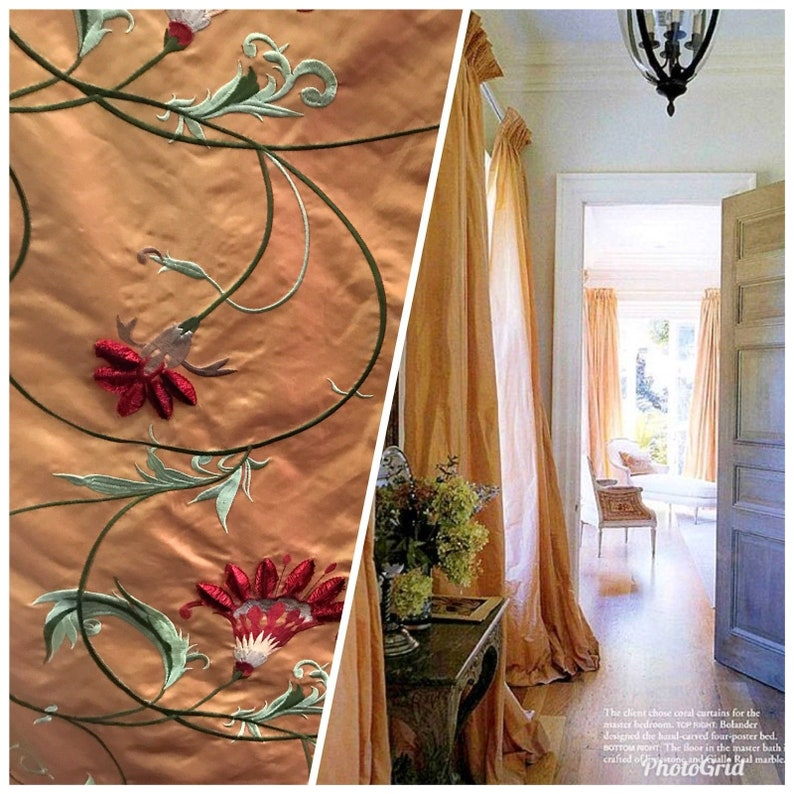 SWATCH 100/% Silk Taffeta Interior Design Fabric Embroidery Garden Taupe