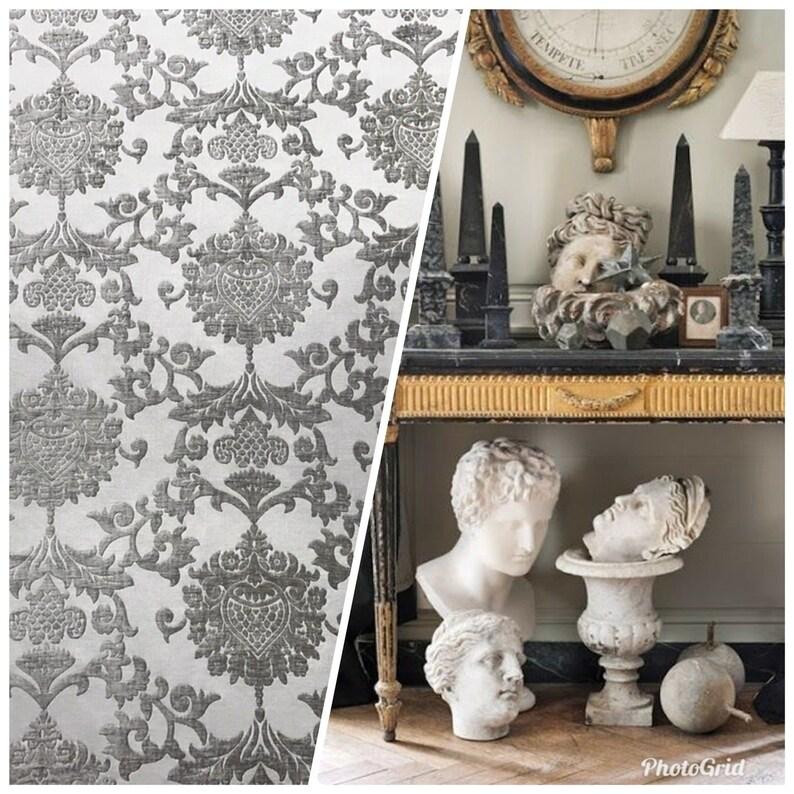 Gray Upholstery Damask Designer Brocade Satin Burnout Chenille Velvet Fabric