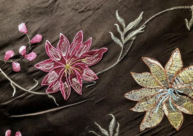 NEW 100/% Silk Taffeta Embroidered Floral Motif Fabric Brown Pink Blue 55\u201d wide
