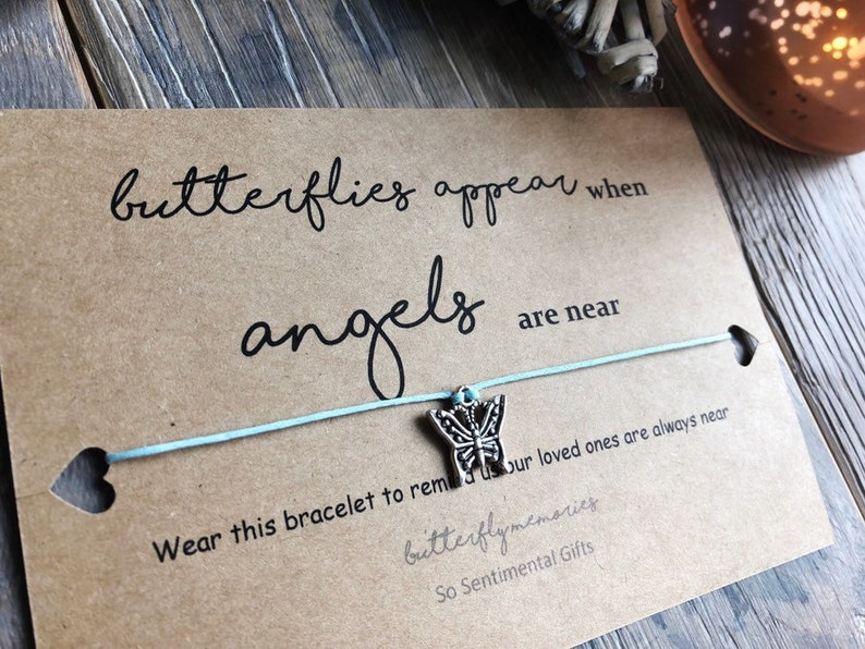 WISH BRACELET FEATHER BUTTERFLY IN LOVING MEMORY MEMORIAL SYMPATHY CARD GIFT