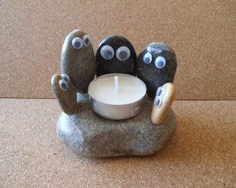 Googly eyed rocks candle holder ( Each holder may vary)
