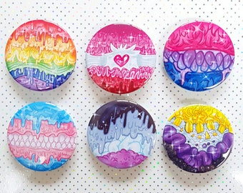Kawaii Creepy Cute Drippy Guro LGBT Buttons   Lesbian Gay Bi Asexual Nonbinary Trans