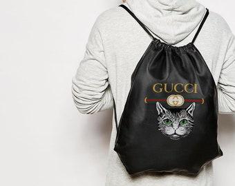 4a5dbcfc831 Gucci rugzak tas Cat print rugzak modieuze spul sport Style Bag cool zwarte  tas voor je spullen Gucci schoudertas Unisex Bag BC0153