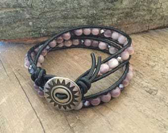 A1028 Leather Double Wrap Bracelet with Purple Cats Eye Glass Beads