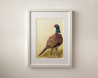 Pheasant Original Framed Painting - Acrylic