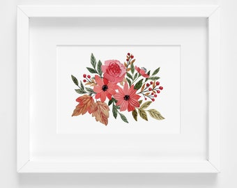 Fall Watercolor Floral Giclee Print
