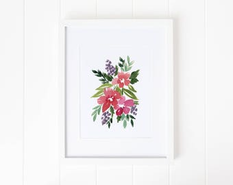 Bright Loose Watercolor Floral | Instant Download