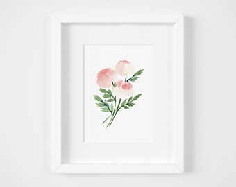 Blush Watercolor Rose Giclee Print