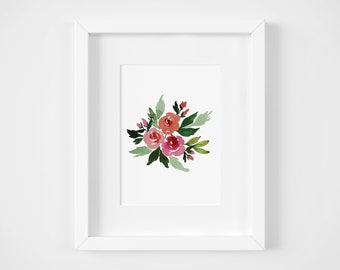Bright Watercolor Rose Giclee Print