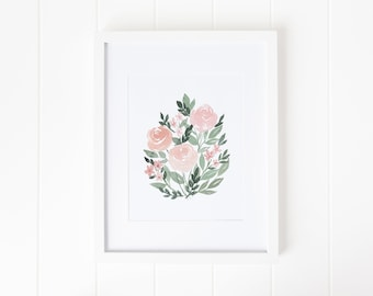 Loose Watercolor Peach Roses Giclee Print