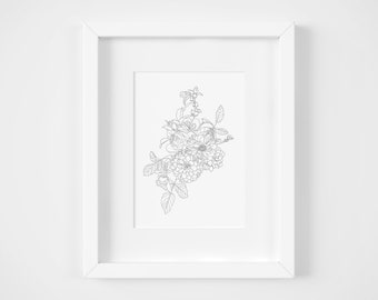 READY TO PAINT Floral Giclee Print