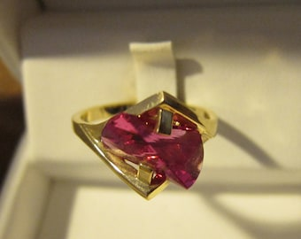 Size:  U.S. 8 ** Gorgeous 1980s Old Stock 14K Gold and Tourmaline Ring (New and in Original Box) (30)