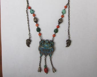 Museum Quality 1800s Tekke Turkoman Tribe Pendant Sterling Silver Necklace (2)