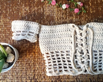 Crochet Festival Crop Top  Off Shoulder Top  Reversible Lace Top  Boho Festival Top  Custom Cream top  Made To Order Crochet Top  Bulky Yarn