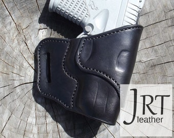 Springfield XDs 3.3, Handmade Leather Concealed Carry Holster, OTW, Outside the Waistband Custom Crafted in Black