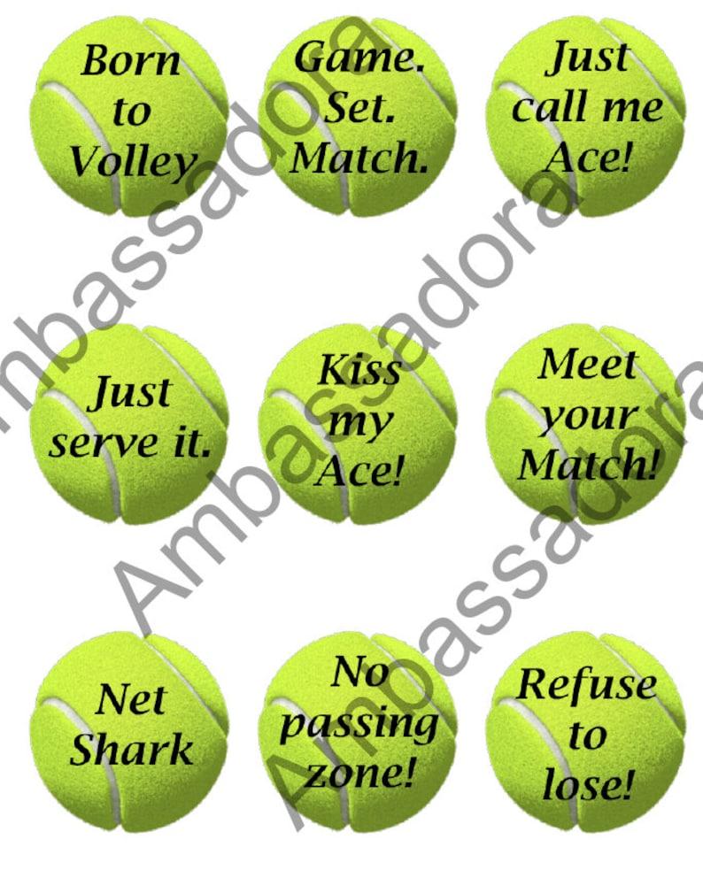 Tennis Balls on Round Labels (2 5