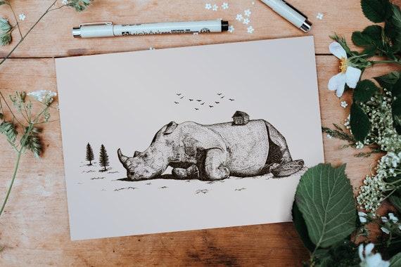 Fantasy Rhino Art