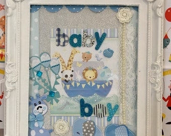 New baby boy decorative frame