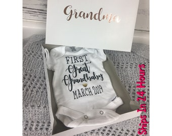 f185220ffa7 First Great Grandbaby Set Custom Pregnancy Announcement Baby Reveal Gift  for Grandparents Grandparents to be We re Expecting New Grandparent