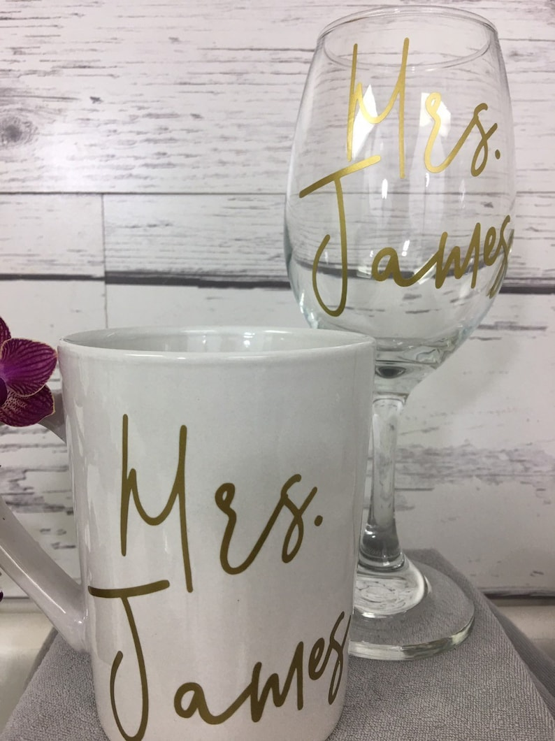 eb218b19368 AM. PM. Mug and Wine Glass Set Personalized Coffee Mug and | Etsy