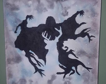 Harry Potter Canvas. Hand painted Watercolour. Stag Patronus Chasing Away Dementor!
