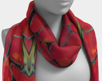 Muscle cells scarf red wearable art