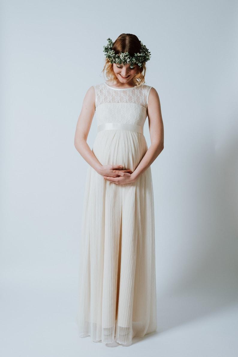 Flor-Length Pregnancy Wedding Dress Blossom Baby image 0