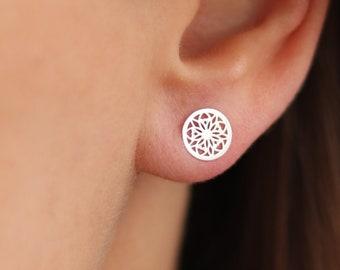 2c0e2539f Mandala Stud Earrings | 925 Sterling Silver | Simple Earrings | Tiny  Earrings | Round Earrings | Circle Studs Earrings | Filigree Earrings