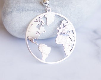 World map necklace etsy long world map necklace earth necklace globetrotter necklace travel charm layering necklace laser cut global pendant map charm gumiabroncs Choice Image