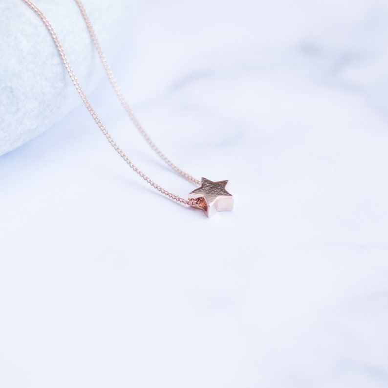 afcaae4e4e74f Rose Gold Star Necklace | 925 Sterling Silver | 3D Star Necklace | Tiny  Star Charm | Dainty Jewelry | Minimalist Jewelry | Twinkle Star