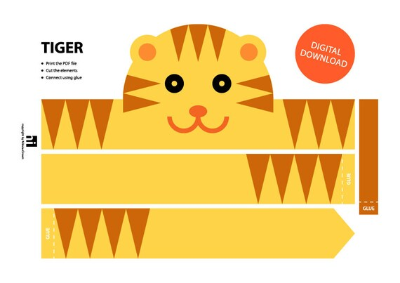 photograph regarding Printable Crown identify Tiger Paper Crown - Printable Crown Template Animal Headband Animal Crown Printable Crown Tiger