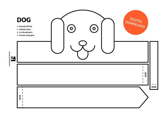 Dog Paper Crown Printable Coloring Face