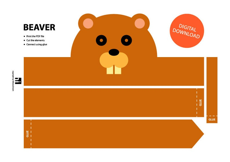 Beaver Paper Crown Printable Crown Template Animal Etsy