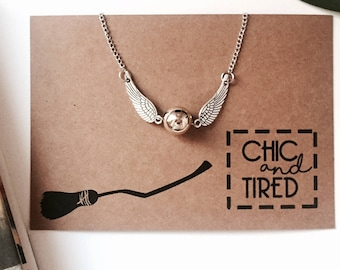 Snitch Necklace || Quidditch, Harry Potter Jewelry, Potter Jewellery, Geek Gifts, Unusual Gifts, Hogwarts, Gifts for Her, Gifts for Women