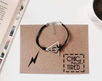 Deathly Hallows Bracelet || Harry Potter Jewelry, Potter Jewellery, Geek Gifts, Unusual Gifts, Hogwarts, Gifts for Her, Gifts for Him