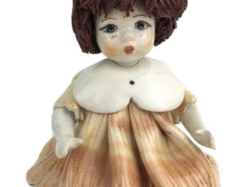 Zampiva Doll Brown Spaghetti Hair Made in Italy Sitting Position Exquisite Face