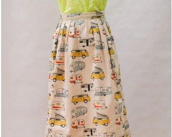 The Pleated Midi Skirt in Happy Camper Print