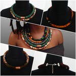 Rope Necklace from African wax print fabric - sauti